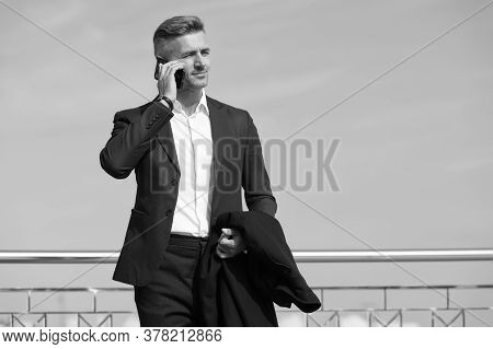 Make Decisions On The Go. Business Concept. Business Life. Man Classic Style Blue Sky Background. Mo