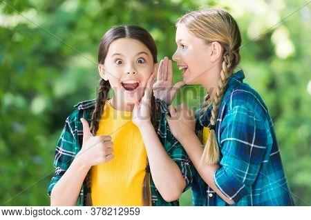 Gossip Concept. Funny Time Spending. Cheerful Girls Best Friends. Wearing Denim Clothes. Girls Teena