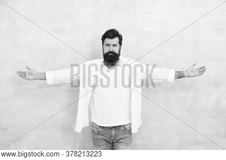 Simple And Comfy. Summer Fashion. Bearded Man Casual Outfit. Fashion Model. Mature Handsome Hipster