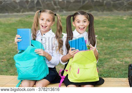 Schools Literature Club. Happy Kids Take Books From Bags. Literature Lesson. School Library. English