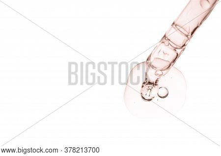 Serum Smear Smudge Swatch With Retinol Collagen And Peptides In Dropper Isolated On White. Skin Care