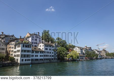 View Of Historic Zurich City Center And River Limmat At Lake Zurich, Canton Of Zurich, Switzerland