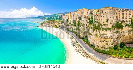 Watercolor Drawing Of Aerial Panoramic View Of Tropea Town And Beach Coastline Of Tyrrhenian Sea Wit