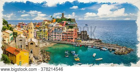 Watercolor Drawing Of Vernazza Village With Typical Colorful Multicolored Buildings Houses And Marin