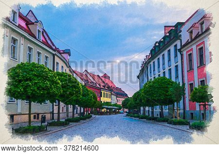 Watercolor Drawing Of Cobblestone Street Road With Colorful Multicolored Buildings And Green Trees I
