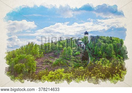 Watercolor Drawing Of Diana Observation Tower Rozhledna Diana And Funicular On Hill Above Slavkov Fo