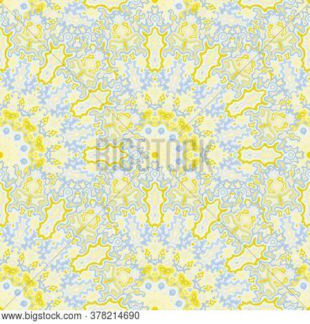 Kaleidoscope Geometric Seamless Ornament. Arabic Ethnic Vector Composition. Tangle Damask Mandala Fl