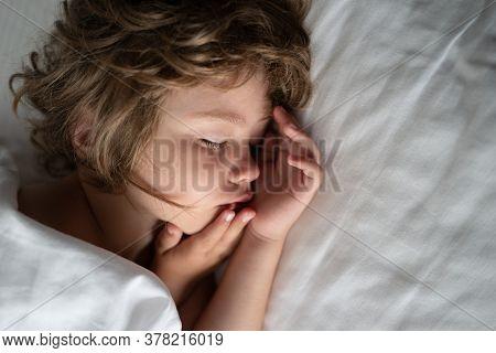 Deep Sleep Kids. Cute Sleeping Child In Bed. Little Angel Dreams