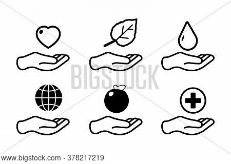 Holding Icons Set. Set Of 6 Holding Outline Icons Such As Heart, Water Drop, Hand With Leaf, Globe O