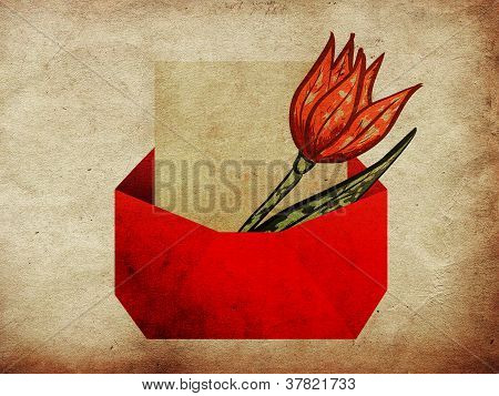 Envelope With Tulip Grunge Background