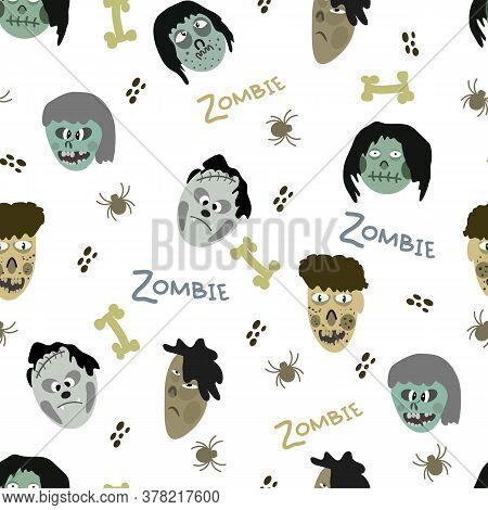 Pattern Of Images Of Zombies And Elements On White Background