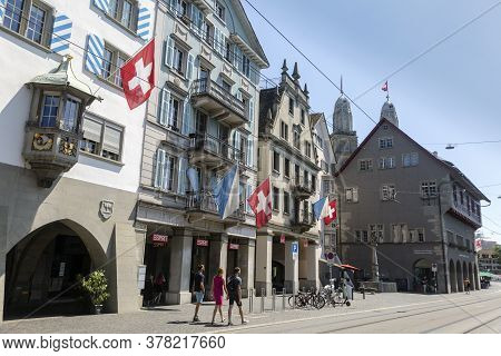 Zurich, Switzerland - 1 August, 2019: A View Of Historic City Center Of Zurich With Swiss Flags, Swi
