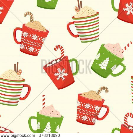 Christmas Seamless Pattern With Cups Hot Cocoa, Cartoon Mugs With Holiday Drinks. Vector Illustratio