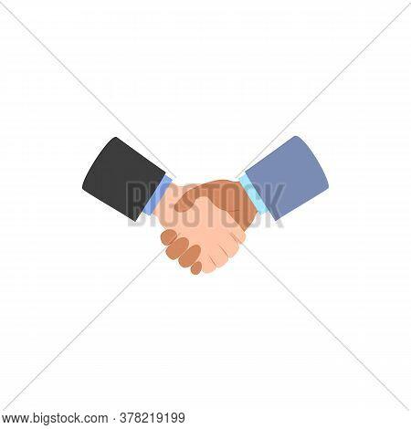 Handshake Icon Isolated On White. Deal Agreement Partnership Symbol. White, Black Men Shaking Hands.