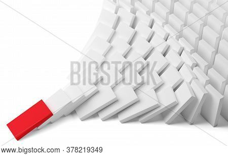 White Domino Stones Pyramid On White Background Falling Over, Chain Reaction Or Multiplication Effec