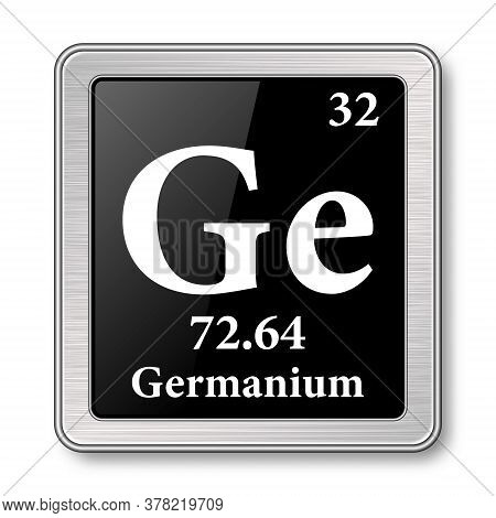 Germanium Symbol.chemical Element Of The Periodic Table On A Glossy Black Background In A Silver Fra