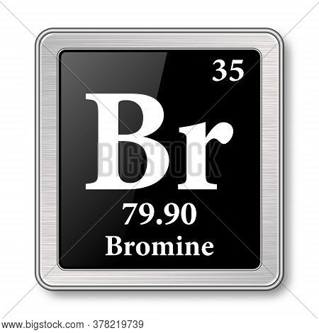 Bromine Symbol.chemical Element Of The Periodic Table On A Glossy Black Background In A Silver Frame