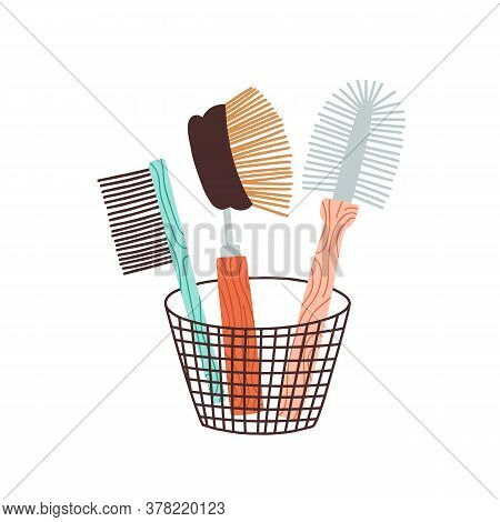 Eco Friendly Zero Waste Bristle Brush. Washing Scrub Dish Cleaner. Natural Kitchen Tool, Equipment.