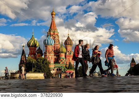 Moscow - July 23, 2020: St Basil`s Cathedral On Red Square In Moscow, Russia. It Is Famous Tourist A