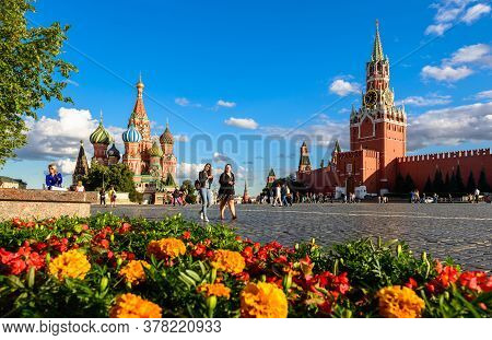 Moscow - July 23, 2020: St Basil`s Cathedral And Kremlin On Red Square In Moscow, Russia. This Place