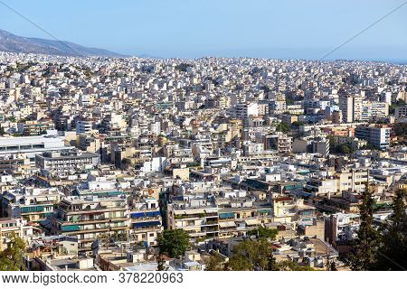 Urban Landscape Of Athens, Greece. Cityscape Of Modern Athens, View From Philopappou Hill. Skyline O