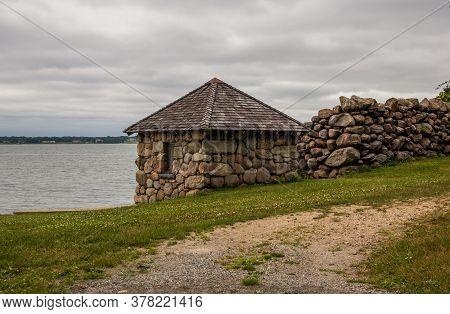 Old Stone Cabin On Seashore In The Historic Blithewold Mansion, Gardens & Arboretum, Bristol, Rhode