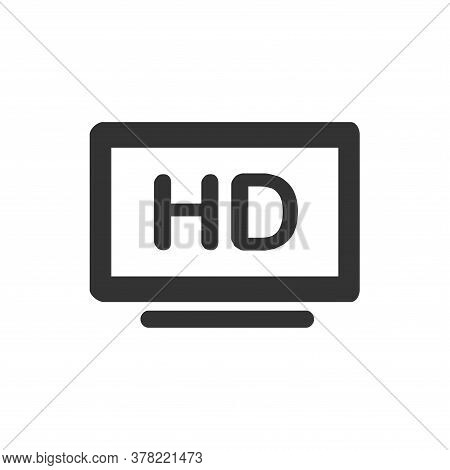 Computer Screen Icon, Computer Screen Icon With Hd Text As Quality Video, Monitor Icon Vector Isolat