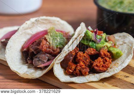 Mexican Barbecue Tacos Of Carne Asada And Chorizo