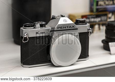 Krasnoyarsk, Russia, June 20, 2020: Old Japanese Vintage Camera Pentax K1000 Asahi On The Counter Of