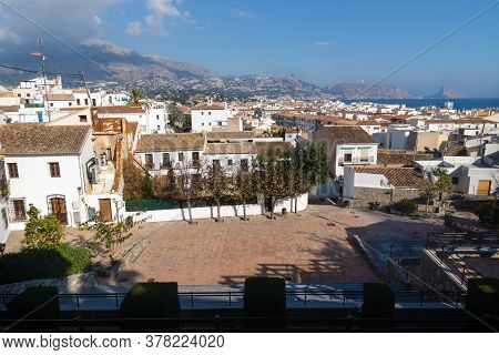 Outlook At The Old Town Square Placa Laigua With Sunny View Over Skyline And Ocean With Mountains, A