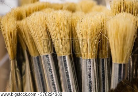 Art Brushes For Painting From Natural Bristles. Tools Of The Artist.