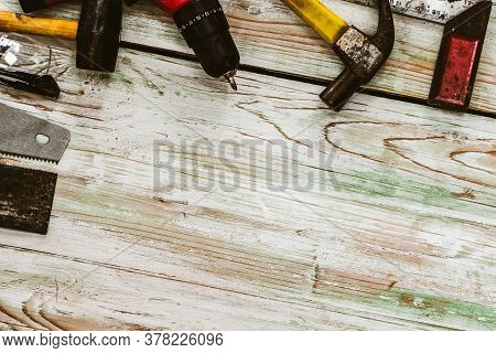Top View Flat Lay Of Tools For Handyman And Carpenter. Woodwork Hobby And Diy Concept.