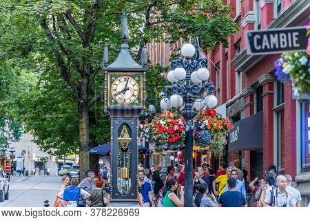Vancouver, British Columbia / Canada - 07/01/2015. A Steam Clock, One Of Only A Few In The World, Lo