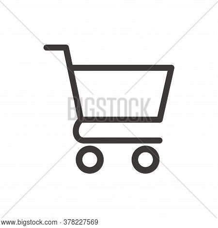 Cart Icon Outline. Vector Cart Line Icon Isolated On White Background. Cart Outline Icon Trendy And