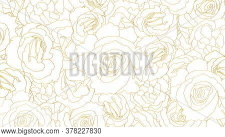 Buds Of Roses. Vector Pattern. Flower Buds In Outline Style.