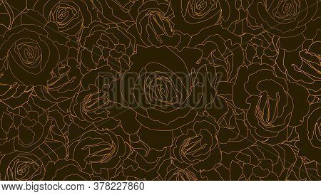 Pattern From Roses Buds. Flower Buds In Outline Style. Golden Line On Dark Background. Vintage Vecto