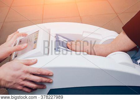 Portable Medical Equipment For Diagnosis Bone Density.