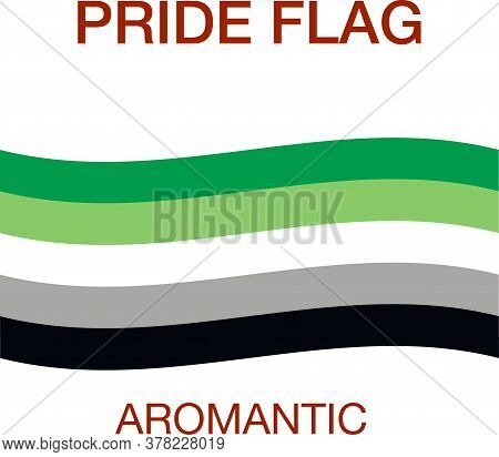 Aromantic Pride Flag On White Background. Pride Symbol.the Official Symbol Of The Community