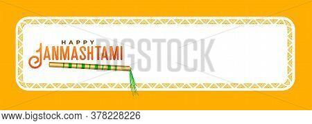 Happy Janmashtami Banner With Lord Krishna Flute