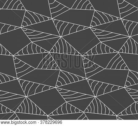 Repeat Ornament Graphic Web Array Pattern. Seamless Linear Vector, Poly Background Texture. Repetiti