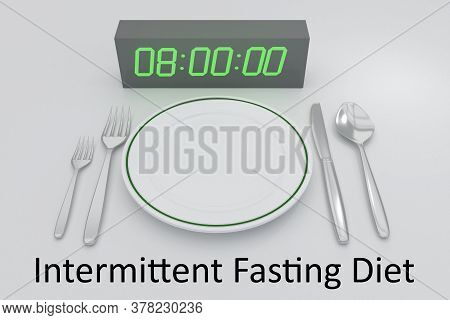 3d Illustration Of Digital Clock And White Plate, Along With Silver Knif And Fork, And An Intermitte