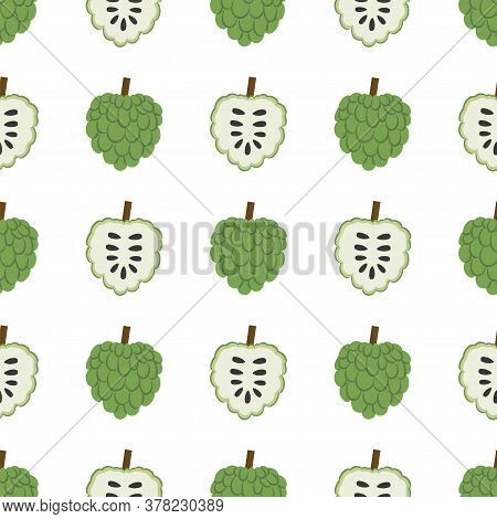 Annona, Sugar Apple. Seamless Vector Patterns On White Background