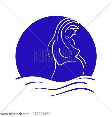 Water Birth Logo Design Vector Woman And Nature Symbol Illustration
