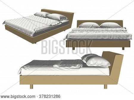 Wood Bed With Green Blanket/ Illustration Of A Cartoon Wooden Children Bed For Boys And Girls With P