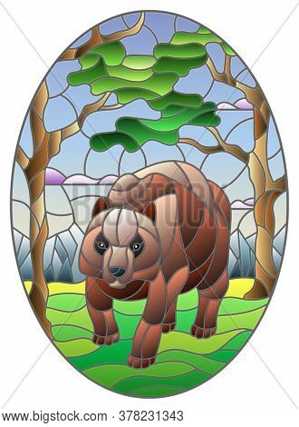 Illustration In Stained Glass Style With Wild Bear On The Background Of Trees, Mountains And Sky, Ov