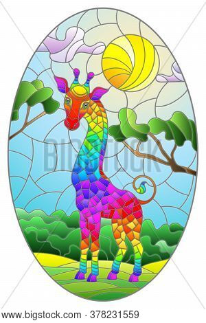 Illustration In Stained Glass Style With Cute Rainbow Giraffe On The Background Of Green Trees Of Cl