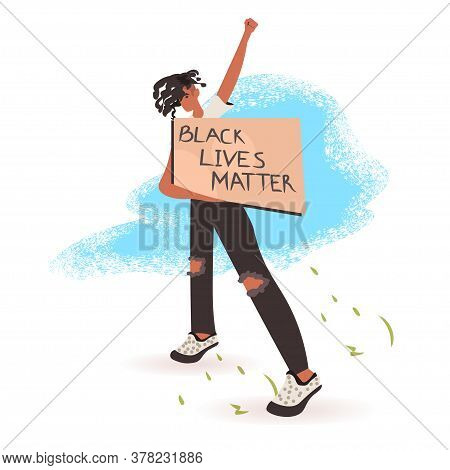 African American Man Holding Black Lives Matter Banner Campaign Against Racial Discrimination Of Dar