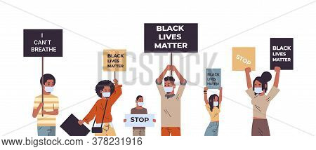 Mix Race Protesters With Black Lives Matter Banners Protesting Against Racial Discrimination Social
