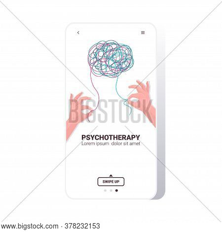 Human Hands Solving Problem In Tangled Brain Psychotherapy Session Treatment Of Stress Addictions An