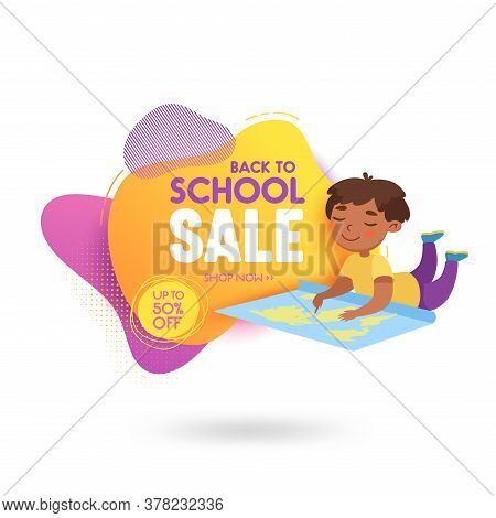 Back To School Sale Banner With Cute Cartoon Student Learning Map. Happy Pupil Study, Discount Of St